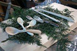 手作りカトラリー作品(間伐材で作る マイ箸・スプーン)